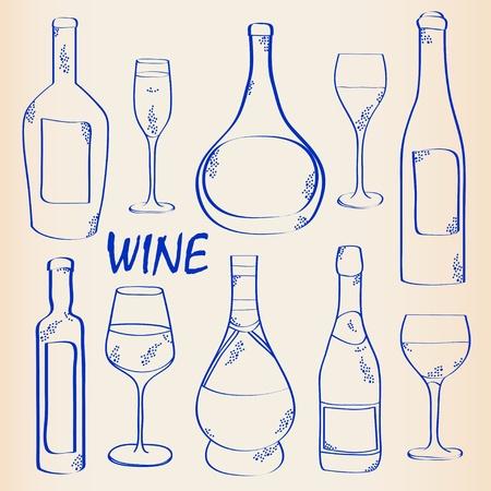 champagne celebration: Hand Drawn Wine and Glass Icon Set