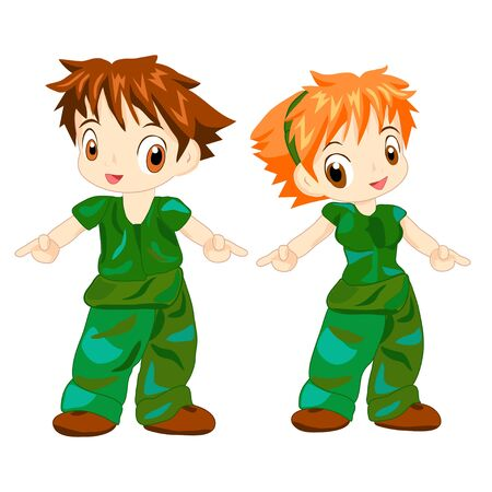 People Wearing Camouflage Uniform Illustration