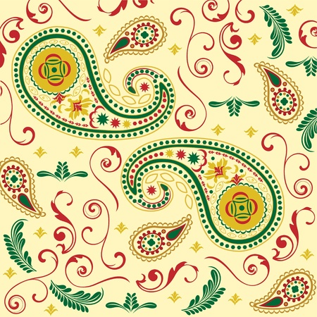 Christmas Paisley in Cream Illustration