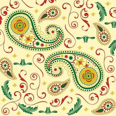 Christmas Paisley in Cream Illustration