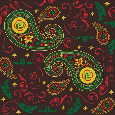 Christmas Paisley in Black Vector
