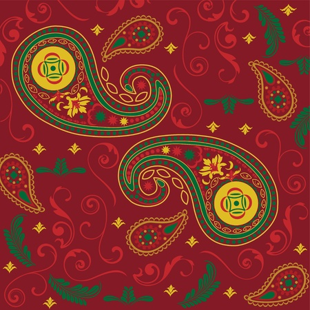 Christmas Paisley in Red Vector