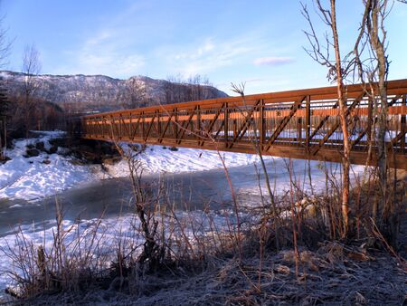 Early Morning Walking Bridge in Winter photo