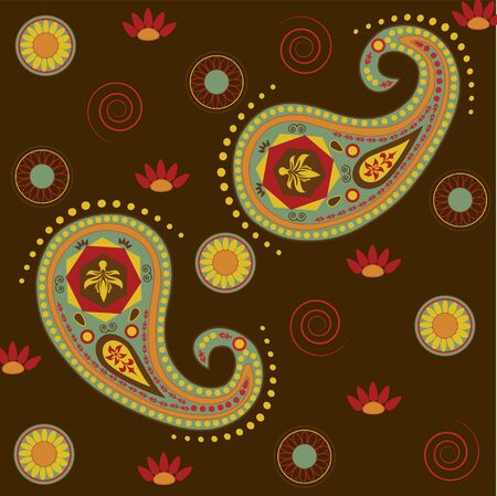 Lotus Paisley in Dark Brown