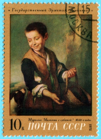 murillo: USSR - CIRCA 1972: A stamp printed in the USSR shows a painting by the artist Bartolome Esteban Murillo Boy with dog, one stamp from series, circa 1972 Editorial