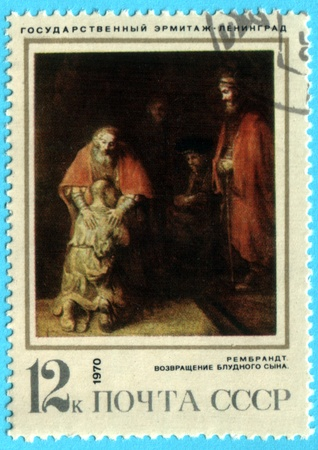 rembrandt: USSR - CIRCA 1970: A stamp printed in the USSR shows a painting by the artist Rembrandt Harmenszoon van Rijn The Return of the Prodigal Son, circa 1970