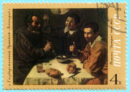 velazquez: USSR - CIRCA 1972: A stamp printed in the USSR shows a painting by the artist Diego Rodriguez de Silva y Velazquez Breakfast, one stamp from series, circa 1972