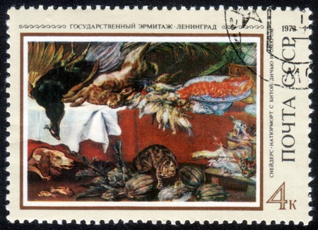 frans: USSR - CIRCA 1973: A stamp printed in the USSR shows painting Still Life with Dead Game and omar by artist Frans Snyders, stamp from collection Hermitage, circa 1973.