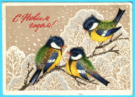USSR - CIRCA 1975: Postcard printed in the USSR shows draw by Manilova - Three titmouse on a snowy branch in a forest, circa 1975
