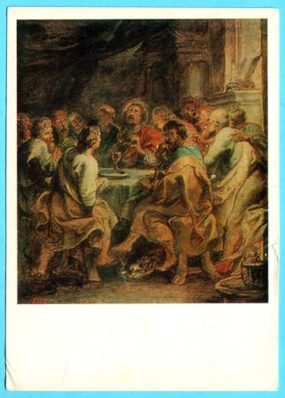 """ordenanza: URSS - CIRCA 1983: foto Soviética exhibición de postales """"La Última Cena"""" - Peter Paul Rubens. alrededor del año 1983, la URSS Editorial"""