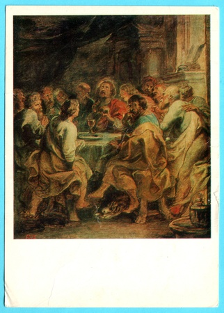 USSR - CIRCA 1983: Soviet postcard show picture 'The Last Supper' - Peter Paul Rubens. circa 1983, USSR