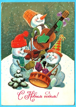 USSR - CIRCA 1985: Postcard printed in the USSR shows draw by Zarybin  - Snowmen play musical instruments, circa 1985. Russian text: Happy New Year!