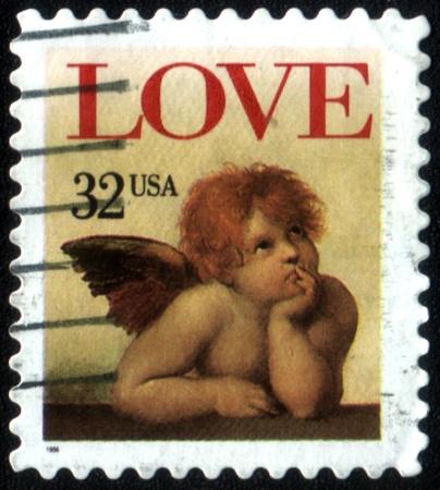 UNITED STATES OF AMERICA - CIRCA 1995: A stamp printed in the United States of America shows image of cupid, circa 1995