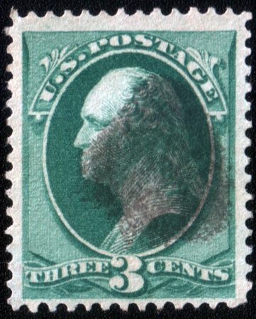 UNITED STATES - CIRCA 1870: A three cent postage stamp published in USA showing President Washington in green, circa 1870