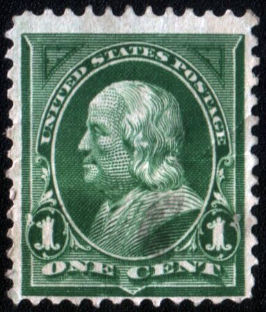 united states postal service: USA - CIRCA 1898: A stamp printed in USA shows Portrait President Benjamin Franklin circa 1898