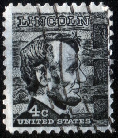 USA - CIRCA 1965: A stamp printed in the USA, shows Abraham Lincoln, circa 1965 Editorial