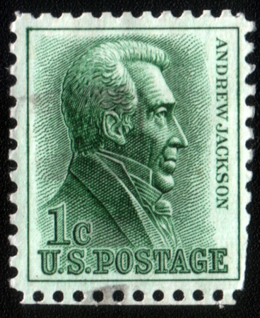 USA-CIRCA 1962: A stamp printed in USA shows image of Andrew Jackson March 15, 1767 - June 8, 1845 was the seventh President of the United States 18291837, circa 1962