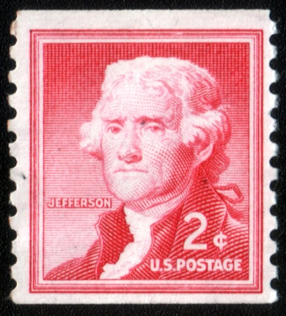 USA - CIRCA 1930: A stamp printed in USA shows image portrait Thomas Jefferson (April 13, 1743 - July 4, 1826) was the third President of the United States (1801-1809), circa 1930