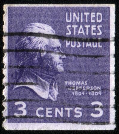 USA - CIRCA 1932: A stamp printed in the USA showing president Thomas Jefferson, circa 1932