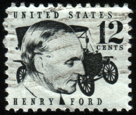 united states postal service: UNITED STATES OF AMERICA - CIRCA 1968: A stamp printed in the United States of America shows image of car manufacturer Henry Ford, series, circa 1968