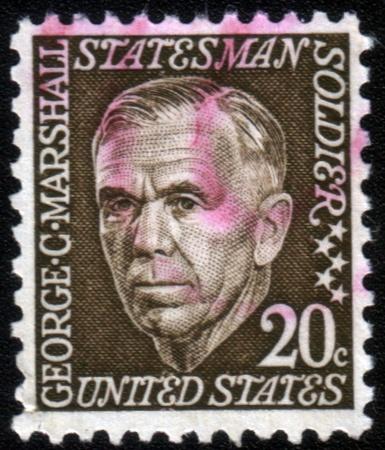 statesman: USA - CIRCA 1967: A stamp printed in USA shows image of George Marshall, circa 1967 Editorial