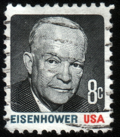 UNITED STATES OF AMERICA - CIRCA 1971: A stamp printed in the United States of America shows President Dwight Eisenhower, series, circa 1971