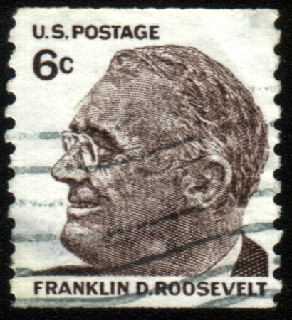 roosevelt: USA-CIRCA 1966:A stamp printed in USA shows image of the Franklin Delano Roosevelt, circa 1966.