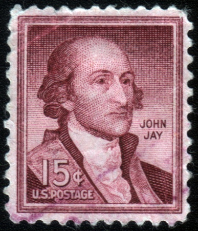 father in law: UNITED STATES OF AMERICA - CIRCA 1954: a stamp printed in the United States of America shows John Jay, 1st Chief Justice of the Supreme Court of the United States 1789-1795, circa 1954