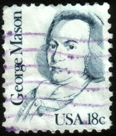 UNITED STATES OF AMERICA - CIRCA 1987: A stamp printed in the USA shows George Mason, circa 1987 Stock Photo - 13456028