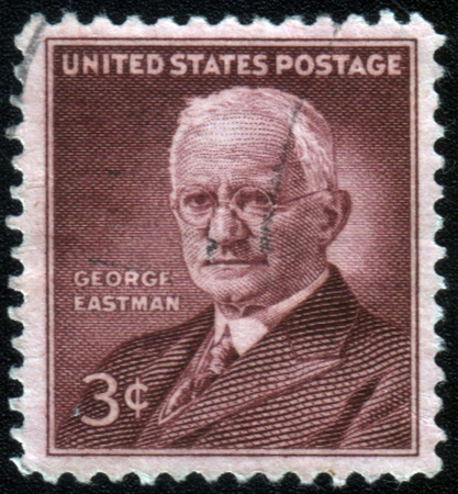 philanthropist: UNITED STATES OF AMERICA - CIRCA 1954: a stamp printed in USA shows George Eastman, photography pioneer, inventor and philanthropist, circa 1954
