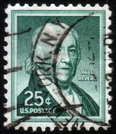 revere: UNITED STATES - CIRCA 1954: stamp printed by United states, shows Paul Revere, circa 1954.