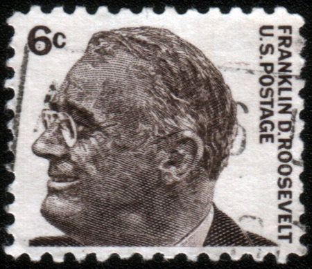 prominent: USA - CIRCA 1965: A stamp printed in USA from the Prominent Americans (1st series) issue showing president Franklin Delano Roosevelt, circa 1965.