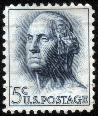 UNITED STATES - CIRCA 1950: A 5 cents postage stamp printed in the United States features portrait of George Washington, the first President of the United States, circa 1950