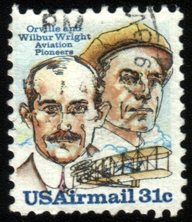 united states postal service: UNITED STATES OF AMERICA - CIRCA 1978: A stamp printed in the United States of America shows image of Orville and Wilbur Wright, the aviation pioneers, series, circa 1978