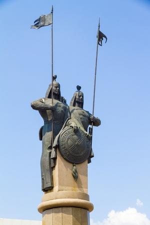 siloette: Monument  Karasaj and Agyntaj batyrs