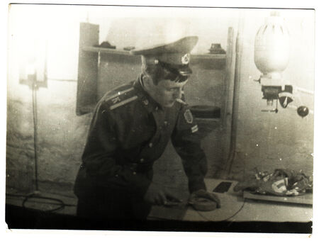 solders: USSR  - CIRCA 1958: An antique photo shows solders