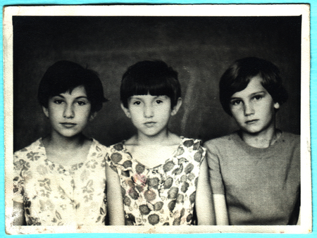 USSR  - CIRCA 1970s: An antique photo shows three little girl