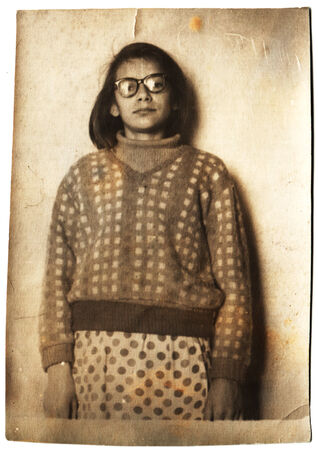 studio b: USSR  - CIRCA 1967: An antique photo shows girl with glasses Editorial