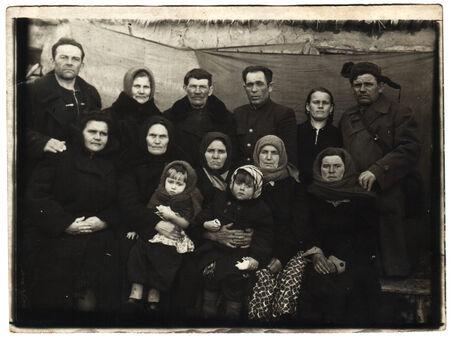 USSR  - CIRCA 1950s: An antique photo shows Group portrait
