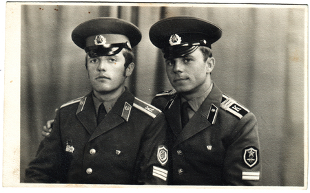 solders: USSR  - CIRCA 1970s: An antique photo shows two solders
