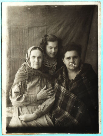 studio b: USSR  - CIRCA 1955: An antique photo shows three women Editorial