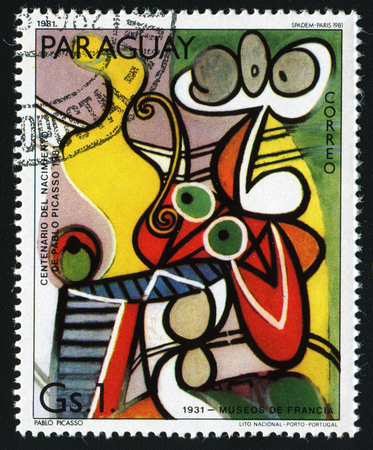 flemish: PARAGUAY - CIRCA 1981: A stamp printed in Paraguay show Pablo Picassos painting Nude and Still Life (1931) , circa 1981.