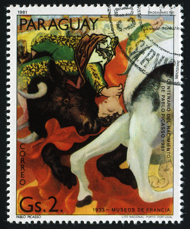 pablo: PARAGUAY - CIRCA 1981: A stamp printed in Paraguay show Pablo Picassos painting , circa 1981.