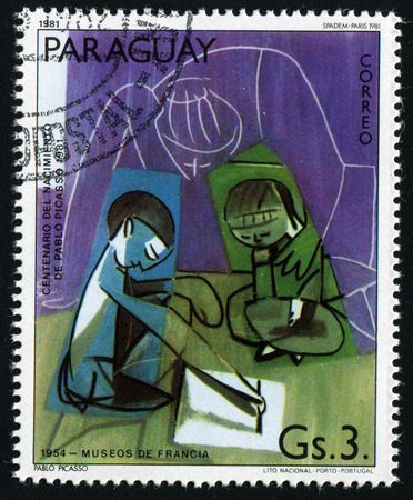 pablo: PARAGUAY - CIRCA 1981: A stamp printed in Paraguay show Pablo Picassos painting, circa 1981.