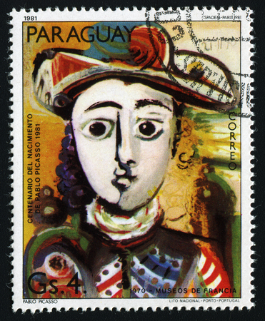 pablo: PARAGUAY - CIRCA 1981: A stamp printed in Paraguay show Pablo Picassos painting Seated Girl (1970) , circa 1981.