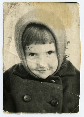 studio b: USSR - CIRCA 1965: An antique photo shows little girl Editorial