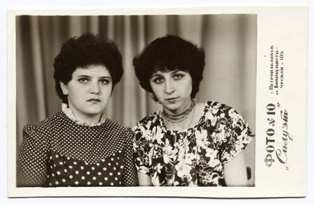 USSR - CIRCA  1980: Antique photo shows studio portrait of two women