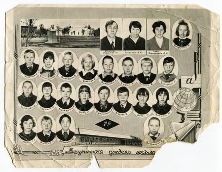 USSR - CIRCA 1975s: Group portrait of schoolchildren in uniform