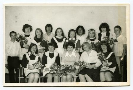 USSR - CIRCA 1960s: Group portrait of school pupils in uniforms.