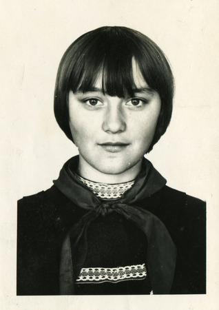 USSR - CIRCA 1975: An antique photo shows portrait of a beautiful schoolgirl.